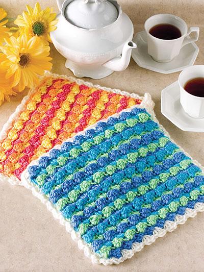 Crochet Pattern Central Potholders : Scrappy Stripes Pot Holder