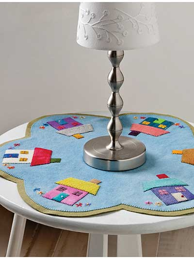 Round the Block Wool Table Topper