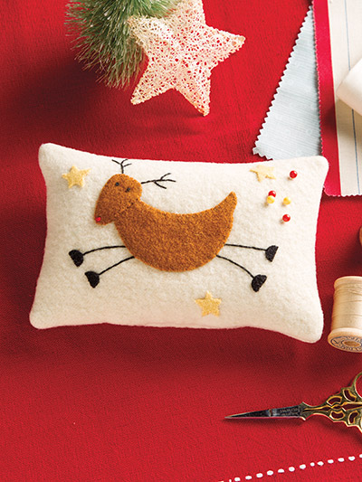 Flying Reindeer Wool Pincushion