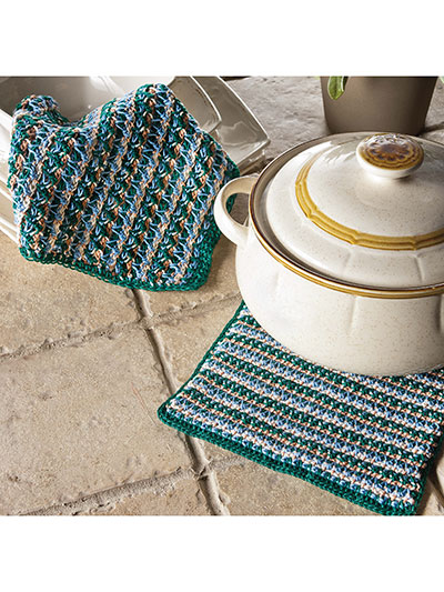Highmere Tunisian Pot Holder & Dishcloth