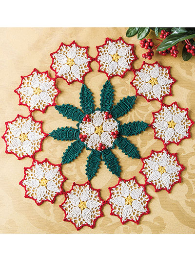 Poinsettias & Holly Doily