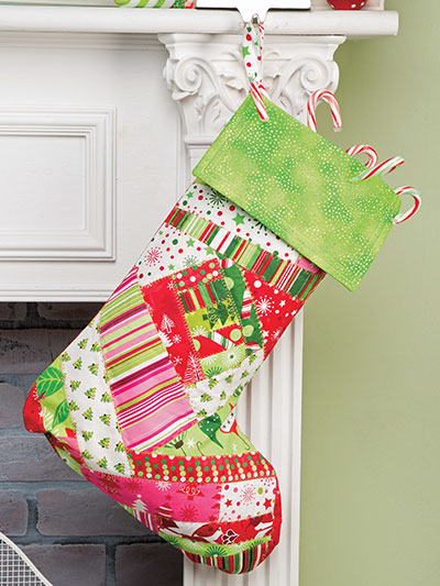 Crazy-Patchwork Stocking Quilt Pattern