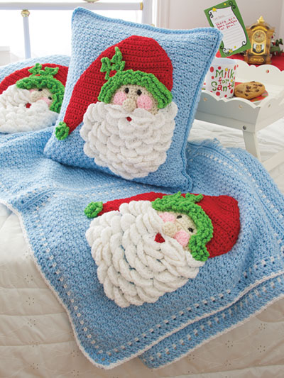 Santa Afghan & Pillow Crochet Pattern