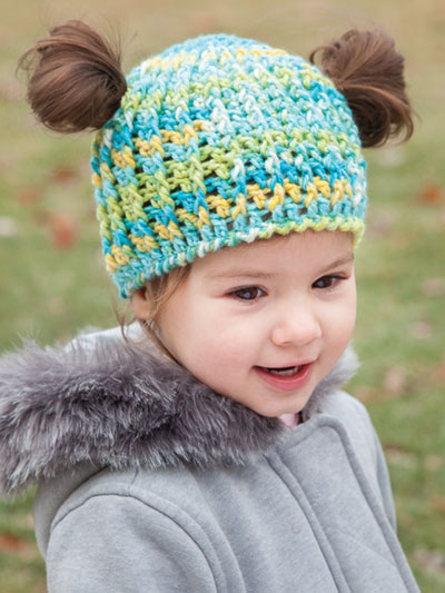 ANNIE'S SIGNATURE DESIGNS: Messy Bun & Pigtail Hats Crochet Pattern