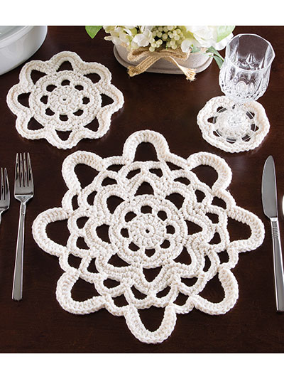 Three-in-One Table Setting Crochet Pattern