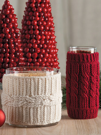 Cabled Candle Cozies Crochet Pattern