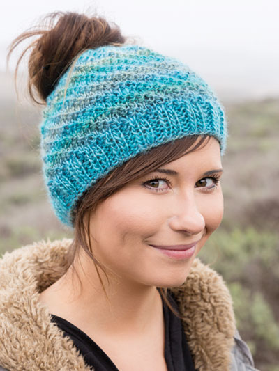 ANNIE'S SIGNATURE DESIGNS: Messy Bun Knit Hat Pattern