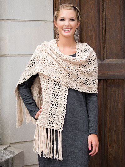 Diamond Flowers Shawl Crochet Pattern