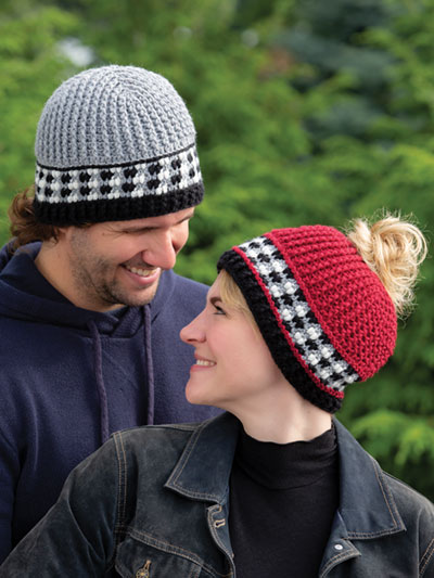 His & Hers Buffalo Check Hats Crochet Pattern