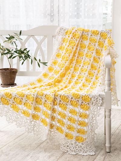 Blossoms in Lace Throw Crochet Pattern