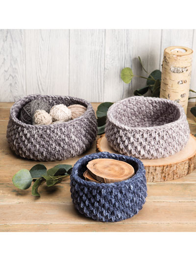 Smokey Blues Baskets Crochet Pattern
