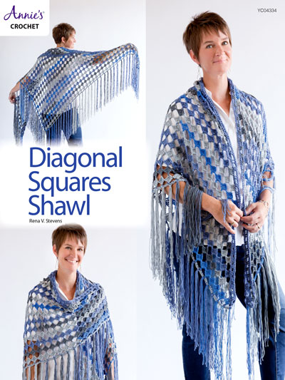 Diagonal Squares Shawl Crochet Pattern