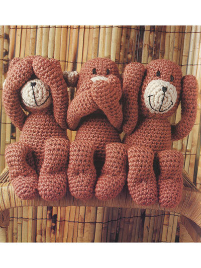 See No Evil Monkeys Crochet Pattern