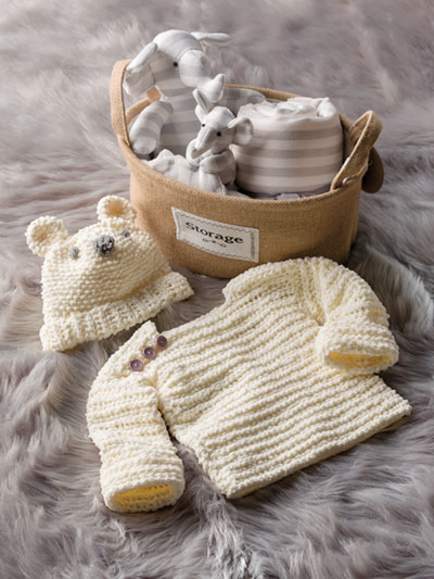 Knit-Look Hat & Pullover for Baby Crochet Pattern