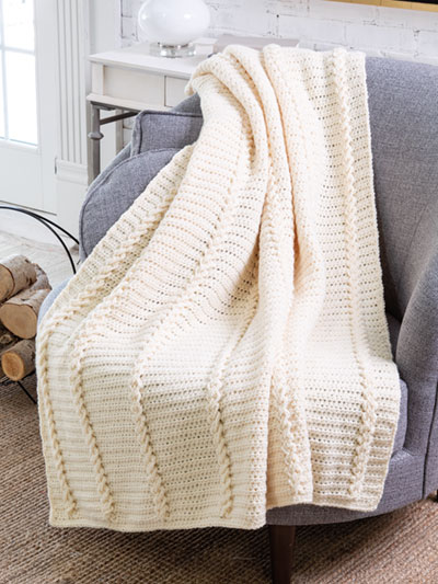 Jacob's Ladder Cabled Throw Crochet Pattern