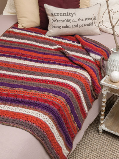 Jewel Tone Crochet Sampler Throw Pattern