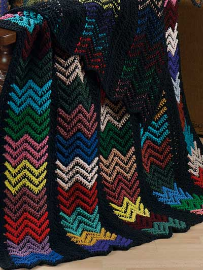 Black Ripple Afghan