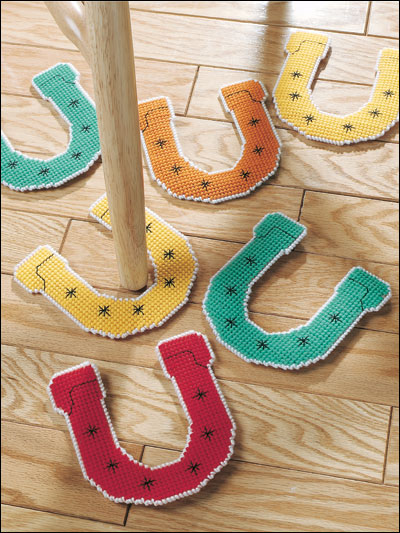 Plastic canvas feel good patterns rainy day horseshoes for Horseshoe crafts for sale