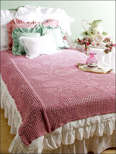 Bed of Roses Filet Throw