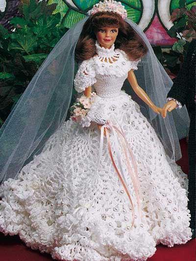 Crochet Toys Doll Clothes Fashion Doll Wedding Gown I