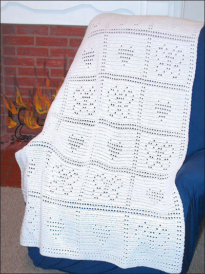 Easy Filet Butterfly Hearts Afghan