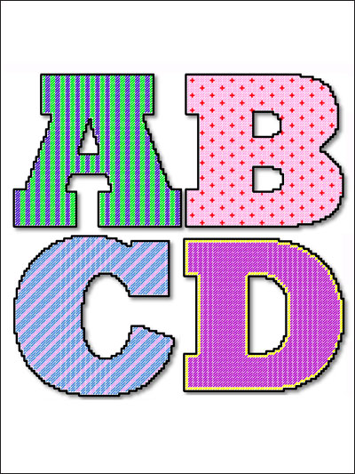 Plastic canvas quick easy patterns 26 large door letters for Plastic canvas crafts for kids