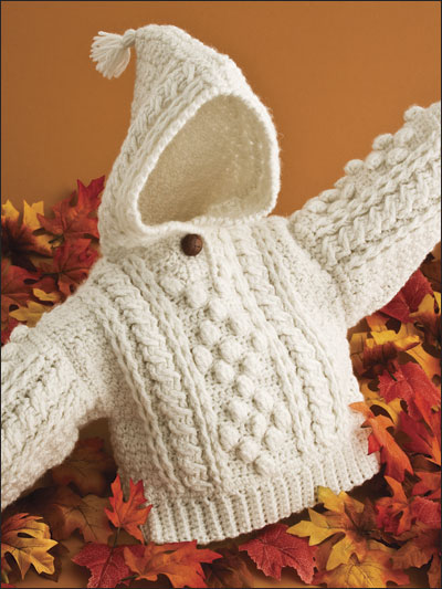 Infants Aran Hoodie Crochet Pattern
