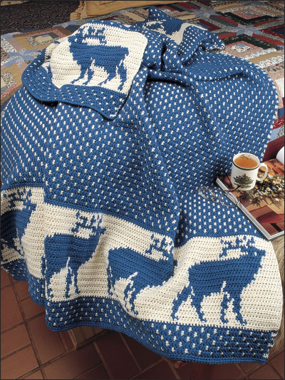Reindeer in the Snow Afghan