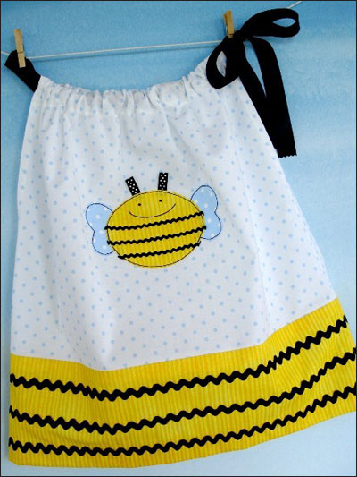 Pillowcase Dress With Bumble Bee & Bear Appliques