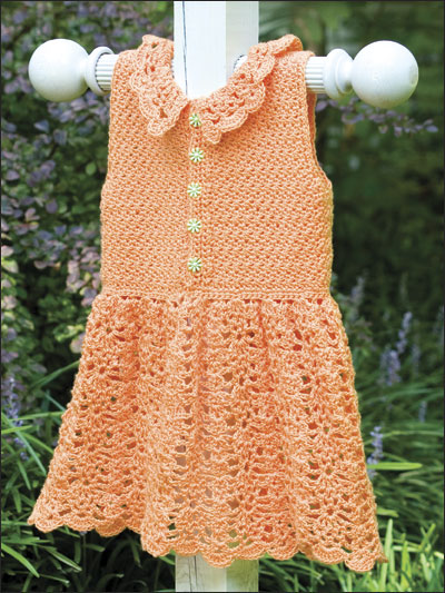 Orange Baby Dress With Collar