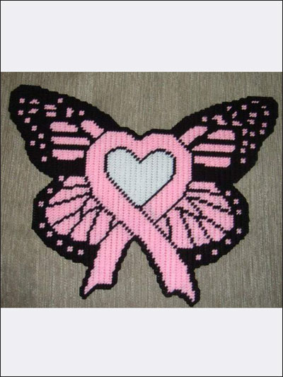 Pink Ribbon Heart Butterfly