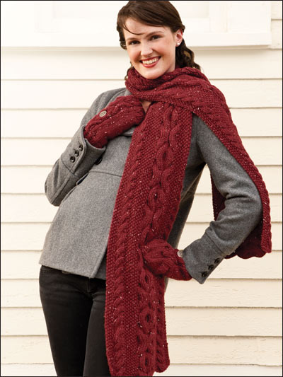 Reversible Scarf & Matching Mittens