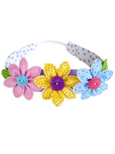 Flowers, Leaf & Narrow Headband