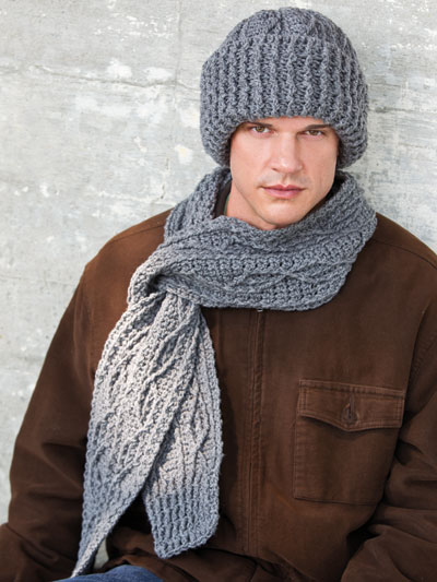 Men's Cabled Scarf & Hat