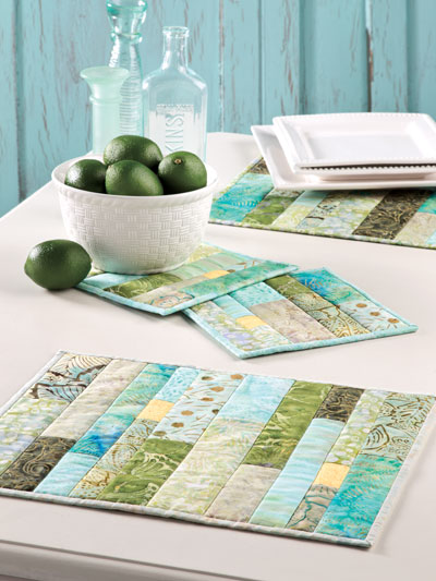 Quilting kitchen patterns place mat patterns green for Kitchen quilting ideas