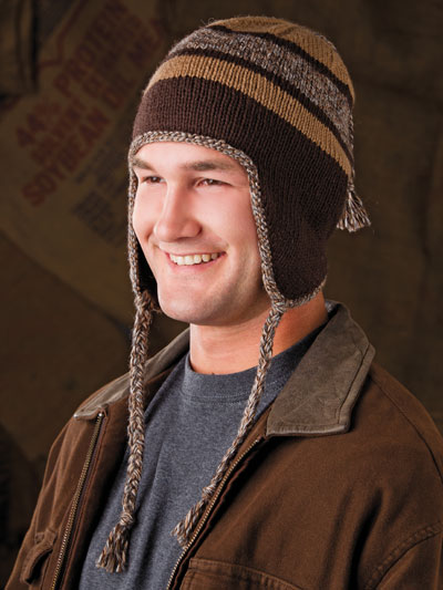 Knitting A Hat In The Round With Double Pointed Needles : Racing stripe earflap hat