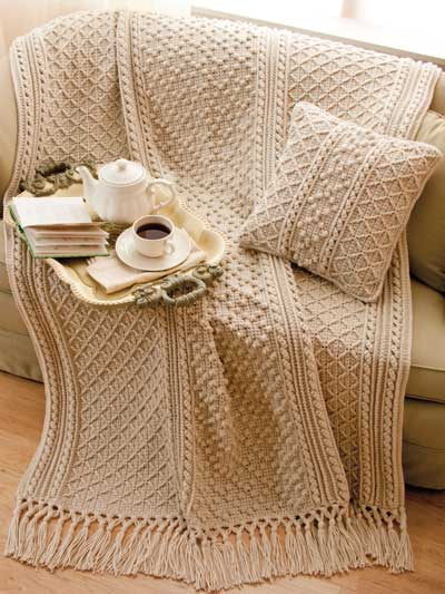 Irish Knit-Style Afghan & Pillow