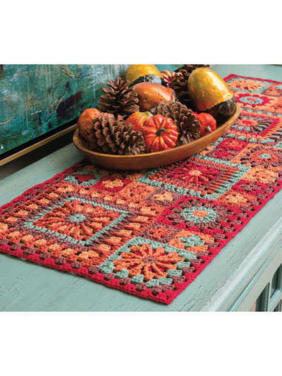 Many Mini Grannies! Table Runner Crochet Pattern