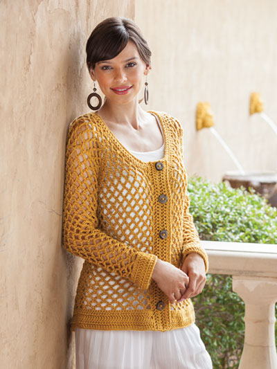 Golden Mesh Cardigan Crochet Pattern