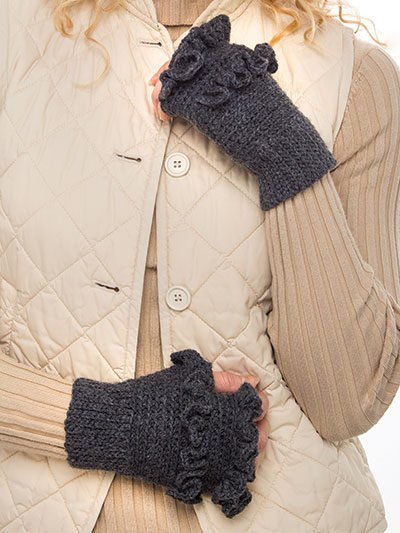 Ruffled Fingerless Mitts Crochet Pattern