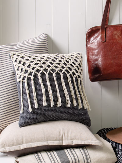 Knotted Fringe Pillow Crochet Pattern