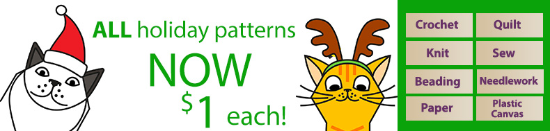 *Offer valid on select e-patterns through January 24, 2021, at 11:59 p.m. ET, only at e-PatternsCentral.com.